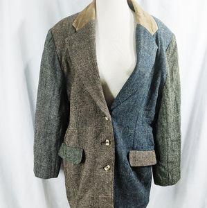 1980s Vintage Color Block Tweed Blazer
